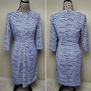 J. McLaughlin sheath dress blue white print